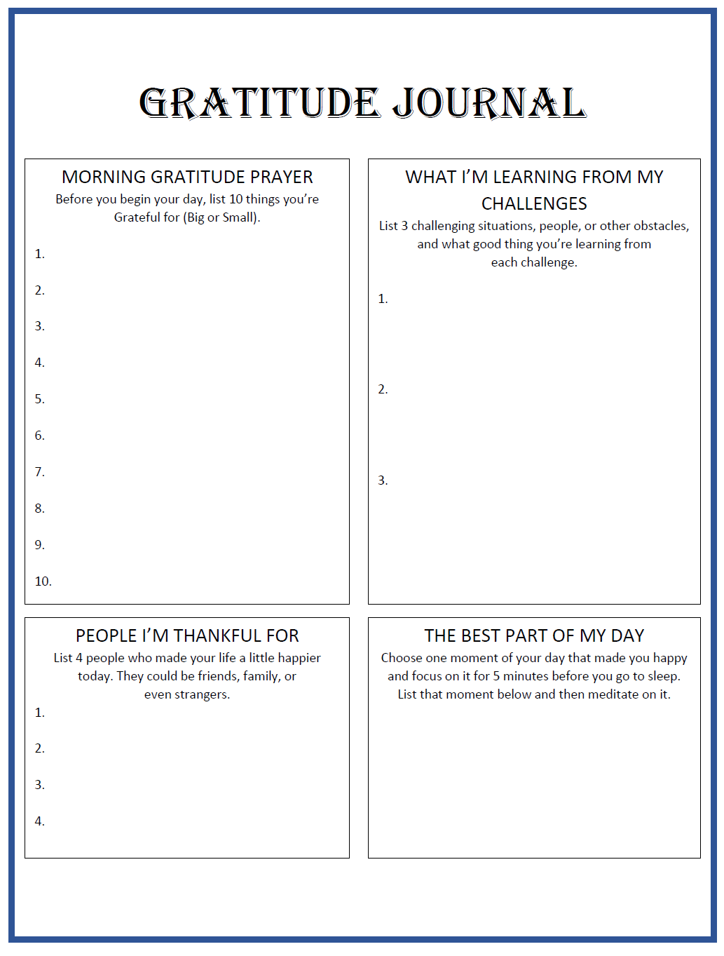 Click On The Gratitude Journal Pdf To Download Blank Template Above